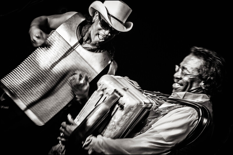 Frottoir player and Buckwheat Zydeco