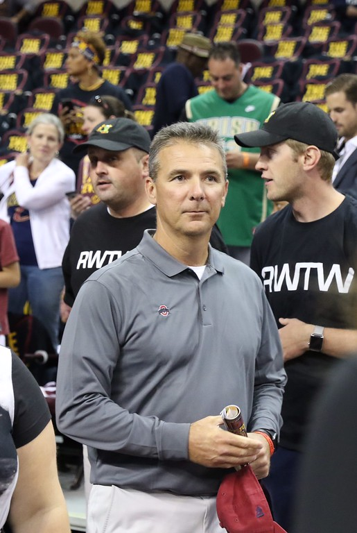 . Tim Phillis - The News-Herald Urban Meyer before Game 3 of the NBA Finals between the Cavaliers and Warriors on June 7 in Cleveland.