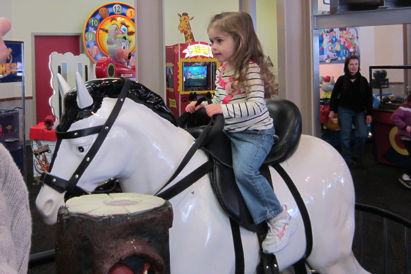 Gralyn's favorite ride at Chuck E Cheese