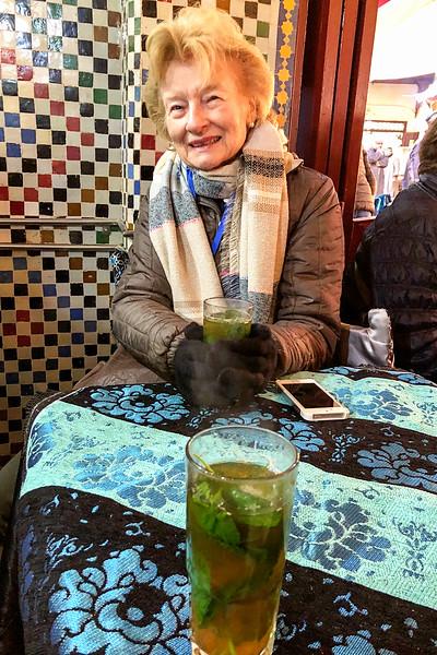 Mimi enjoying the hot mint tea