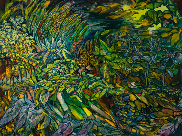 """©John Rachell  Title: The Garden, June 1, 2007 Image Size: 48"""" w by 36"""" d Dated: 2007 Medium and Support: Oil Paint on canvas Signed: LL Signature"""