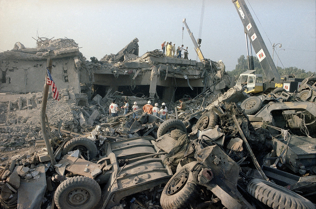. This Sunday, Oct. 23, 1983 file photo shows the aftermath of a suicide truck bombing of the U.S. Marines barracks in Beirut, Lebanon. The blast _ the single deadliest attack on U.S. forces abroad since World War II _ claimed the lives of 241 American service members.(AP Photo/Jim Bourdier, File)