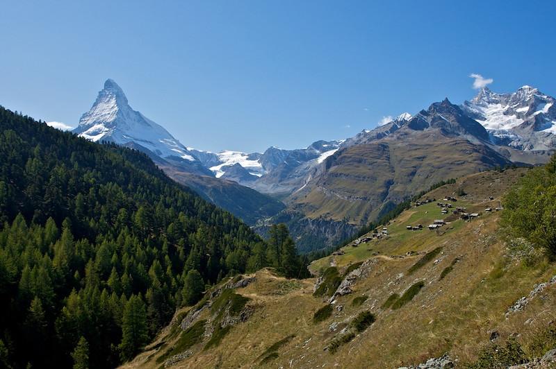 Matterhorn and the village of Findeln