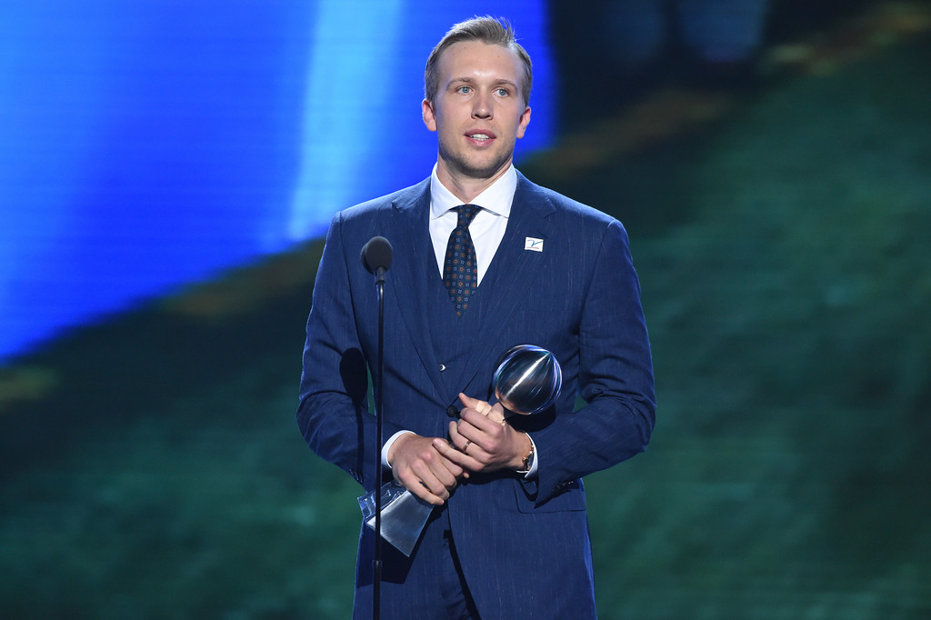 . Philadelphia Eagles\' Nick Foles accepts the award for best championship performance, in Super Bowl 52, at the ESPY Awards at Microsoft Theater on Wednesday, July 18, 2018, in Los Angeles. (Photo by Phil McCarten/Invision/AP)