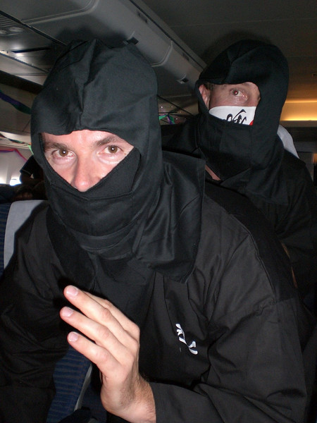 Peter Roberts, our QF Captain, announced that we had on board the latest security team - the QF Ninjas.   Obviously a highly efficient security team as there wasn't any problems on the flight home.