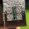 Art Deco Diamond and Emerald Disc Earrings 24