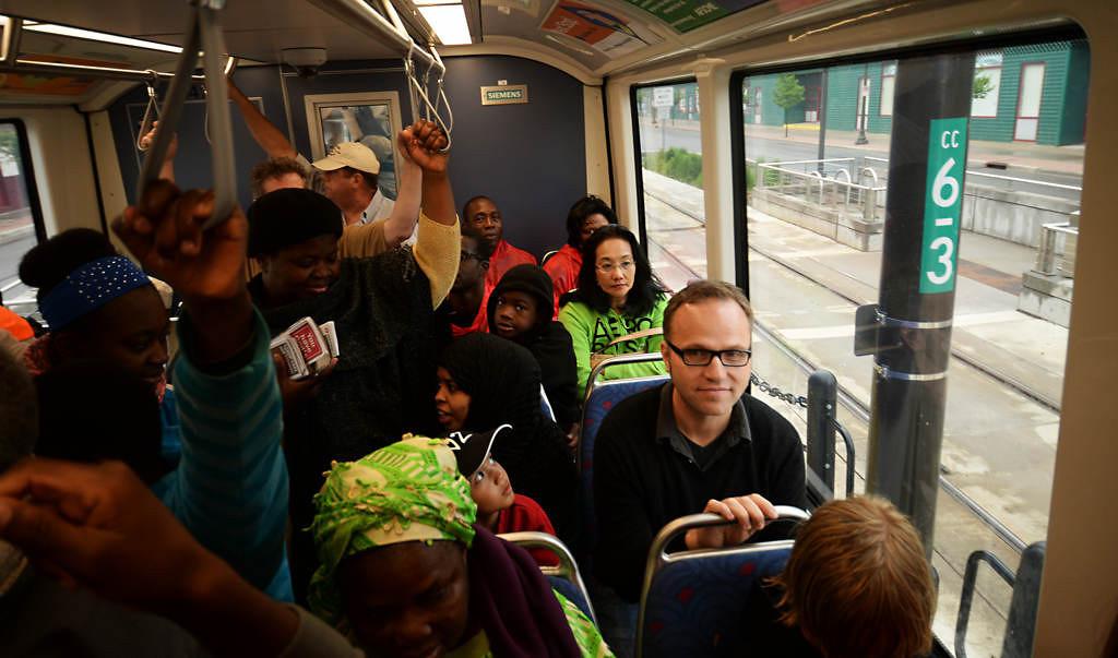 . A  packed train heading towards Minneapolis. (Pioneer Press: John Autey)
