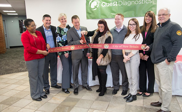 02/03/20 Wesley Bunnell | StaffrrQuest Diagnostics opened its third location in New Britain at 1 Grove St with a ribbon cutting. Quest's Cecilia Allen-Branch, L, Quest's real estate manager Adrian Zborowaki, patient services supversor Krystyna Wojtun, patient services director Jeremy Stein, Mayor Erin Stewart, Alderman Chris Anderson, patient services supervisor Jolanta Sokolowski, woman's health representative for Quest Sue Coppola and Economic Development Director Bill Carroll.