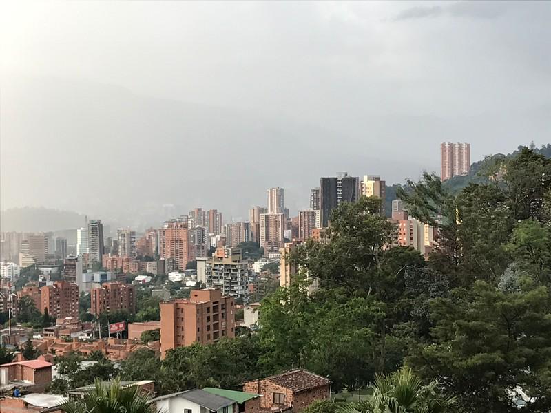 El Poblado, Central Medellin is in the valley in the distance.