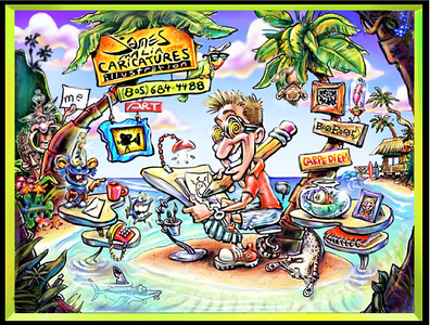 click on image to see gallery of James Malia illustration, caricatures and fine art
