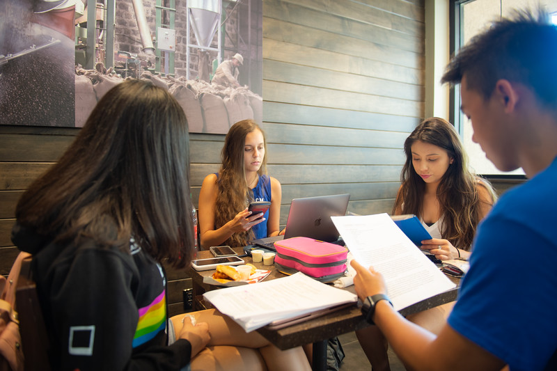 April Delgado (left), Elena Crawford, Bryanna Salazar, and Trung Le at Starbuck.