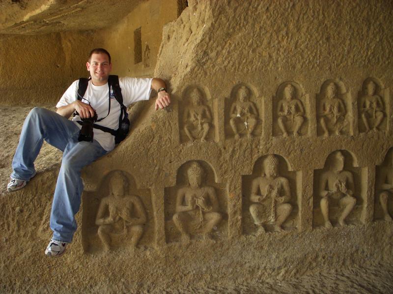 Jon inside a temple at the Kanheri Caves