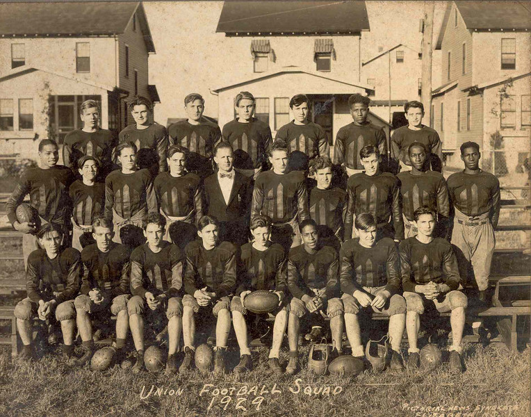 Union Football Squad in front of Berwyn St. in 1929.