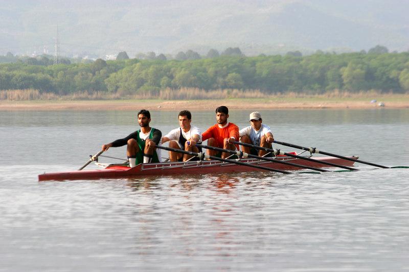 A quad heading out.  Stroke Zohaib, 3 Asad, 3 Sabir Khan, B Mohibullah