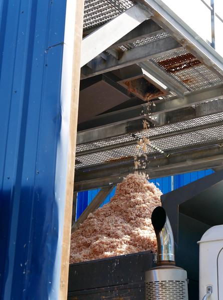 Shrimp husks leaving the processing facility