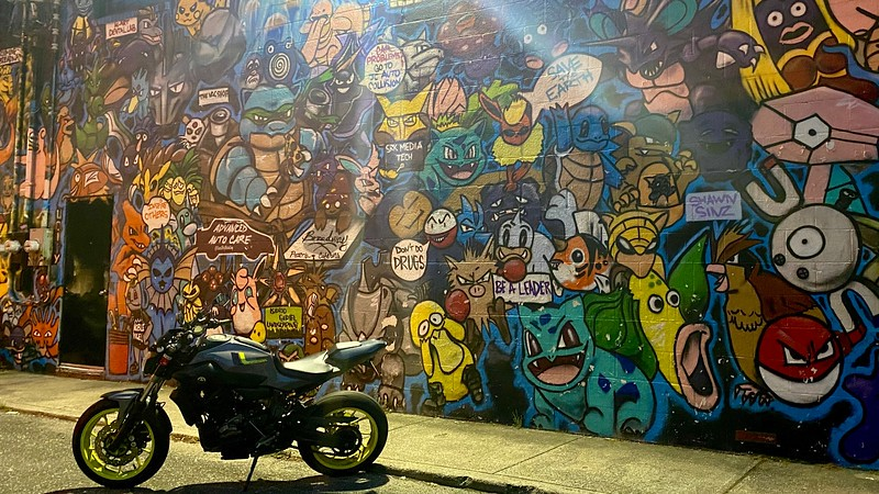 Yamaha FZ07 at Pokemon Mural in Huntington