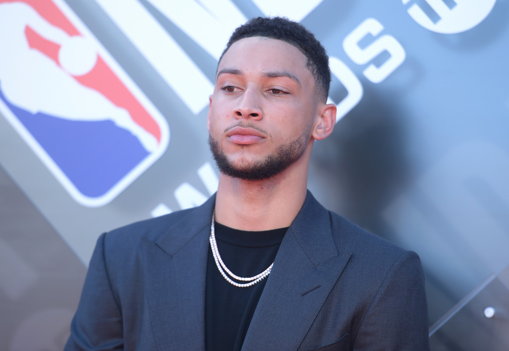 . NBA player Ben Simmons, of the Philadelphia 76ers, arrives at the NBA Awards on Monday, June 25, 2018, at the Barker Hangar in Santa Monica, Calif. (Photo by Richard Shotwell/Invision/AP)
