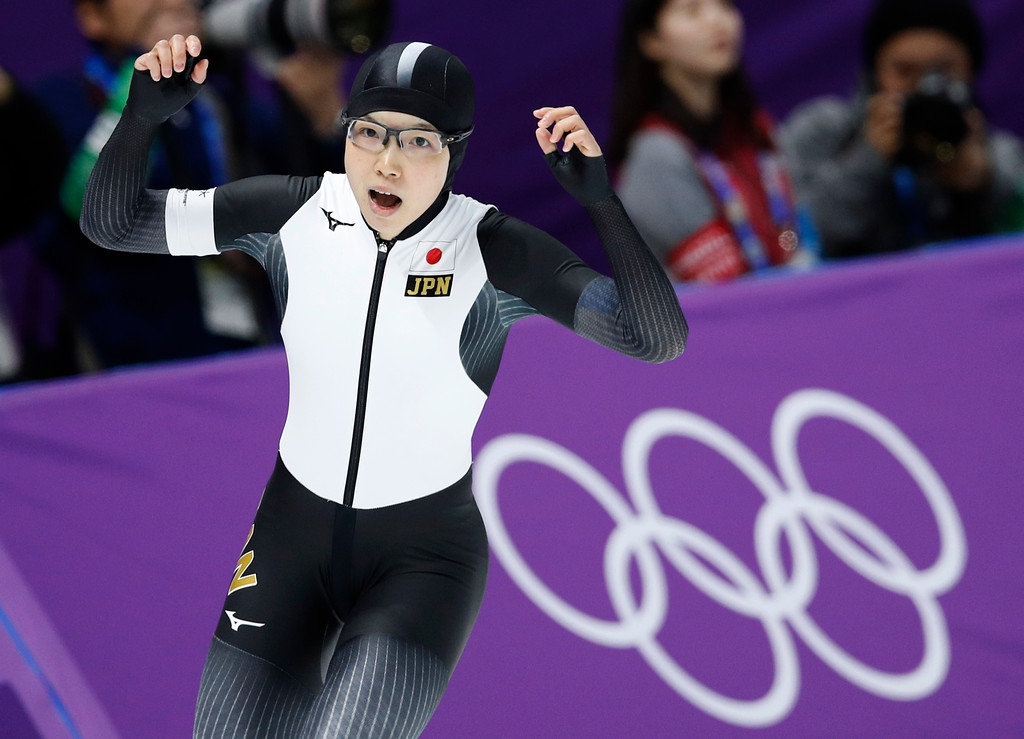 . Japan\'s Nao Kodaira celebrates after setting a new Olympic record in the women\'s 500 meters speedskating race at the Gangneung Oval at the 2018 Winter Olympics in Gangneung, South Korea, Sunday, Feb. 18, 2018. (AP Photo/Vadim Ghirda)