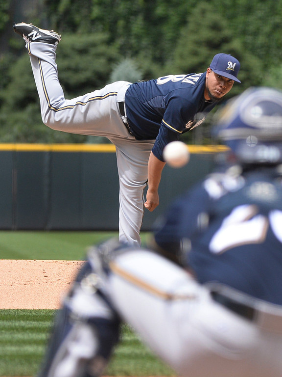 . DENVER, CO - JUNE 21: Milwaukee starting pitcher Wily Peralta threw a strike in the first inning. The Colorado Rockies hosted the Milwaukee Brewers at Coors Field Saturday afternoon, June 21, 2014. Photo by Karl Gehring/The Denver Post