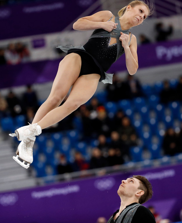 . FILE - In this Feb. 14, 2018, file photo, Ekaterina Alexandrovskaya and Harley Windsor of Australia perform in the pair figure skating short program in the Gangneung Ice Arena at the 2018 Winter Olympics in Gangneung, South Korea.Some three dozen skaters in the Pyeongchang Games are performing for nations in which they were not born. (AP Photo/Bernat Armangue, File)
