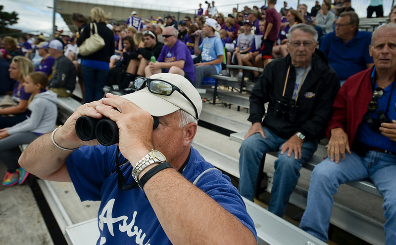 . Fans watch the players at Vikings training camp in Mankato, Minn., on Friday, July 26, 2013. (Pioneer Press: Ben Garvin)