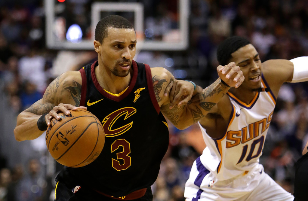 . Cleveland Cavaliers guard George Hill (3) in the second half during an NBA basketball game against the Phoenix Suns, Tuesday, March 13, 2018, in Phoenix. The Cavaliers defeated the Suns 129-107. (AP Photo/Rick Scuteri)