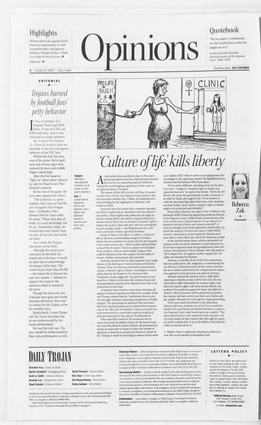 Daily Trojan, Vol. 141, No. 29, October 09, 2000
