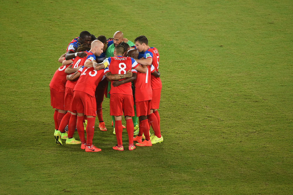 Description of . The United States huddle prior to the 2014 FIFA World Cup Brazil Group G match between Ghana and the United States at Estadio das Dunas on June 16, 2014 in Natal, Brazil.  (Photo by Laurence Griffiths/Getty Images)
