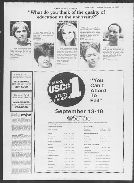 Daily Trojan, Vol. 92, No. 5, September 13, 1982