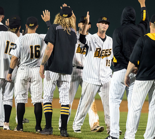 07/03/18 Wesley Bunnell | Staff The New Britain Bees vs the Long Island Ducks on July 3rd at New Britain Stadium. The Bees line up for the post game hand shakes and high fives. Reid Brignac (15).