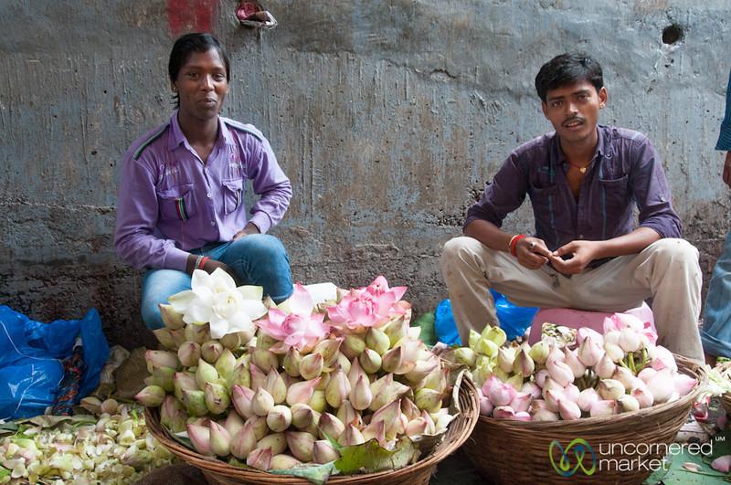Dadar Flower Market, Piles of Lotus Flowers - Mumbai, India