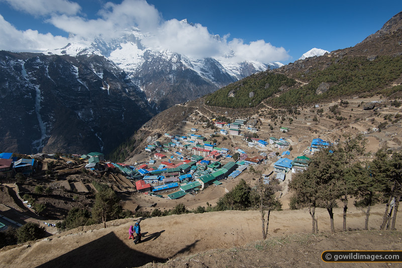 Namche Bazaar, 3400m. The red, blue and green colours match the significant Buddhist colours