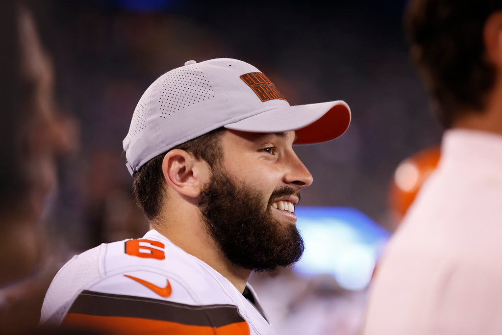 . Cleveland Browns quarterback Baker Mayfield (6) smiels during the second half of a preseason NFL football game Thursday, Aug. 9, 2018, in East Rutherford, N.J. The Browns won 20-10. (AP Photo/Adam Hunger)