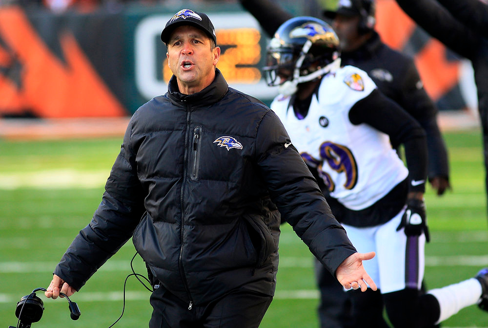 . Baltimore Ravens head coach John Harbaugh reacts to a play in the second half of an NFL football game against the Cincinnati Bengals, Sunday, Dec. 30, 2012, in Cincinnati. (AP Photo/Tom Uhlman)