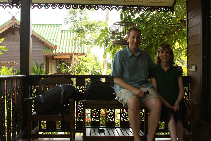 On the porch of our bungalow