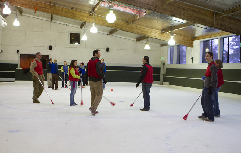 "Broom hockey, or broom ball, uses ""brooms"""