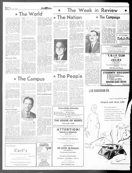 Daily Trojan, Vol. 40, No. 30, October 22, 1948