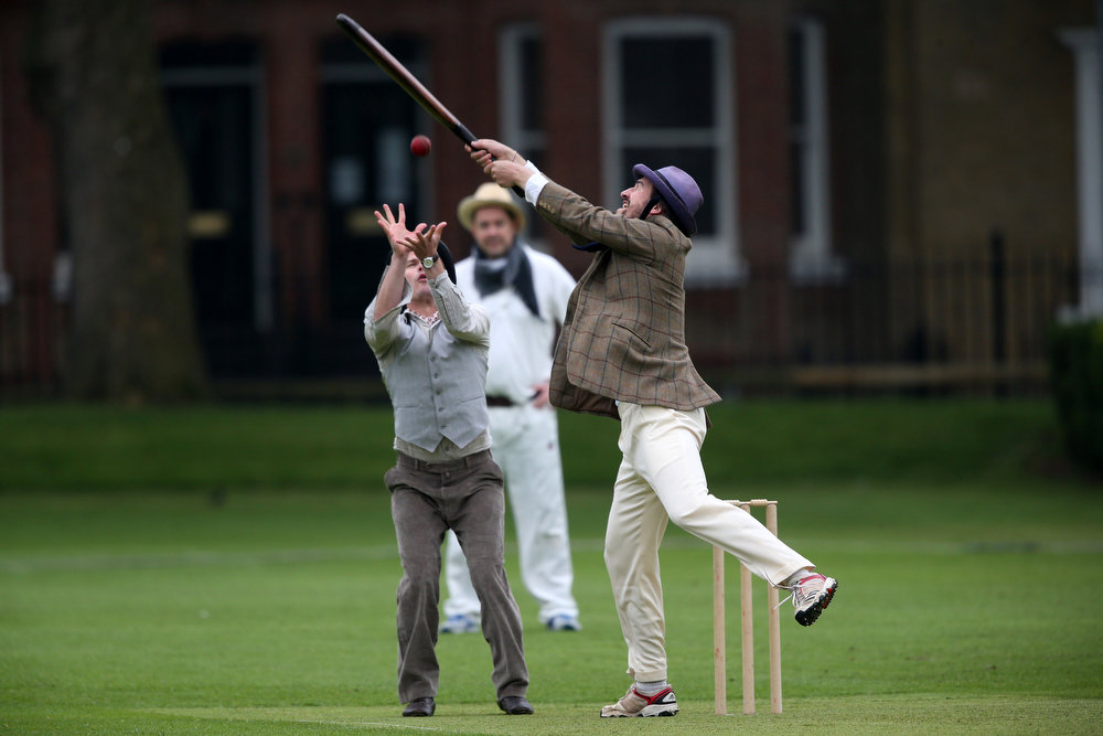 . Members of the Wisden XI and the Authors XI take part in a Victorian cricket match at Vincent Square on May 29, 2013 in London, England. The match celebrates the 150th anniversary the Wisden Cricketers� Almanack. The almanack is a cricket reference book published annually in the United Kingdom.  (Photo by Peter Macdiarmid/Getty Images)