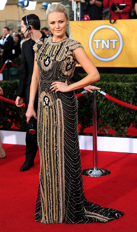 . Malin Akerman arrives at the 20th Annual Screen Actors Guild Awards  at the Shrine Auditorium in Los Angeles, California on Saturday January 18, 2014 (Photo by Michael Owen Baker / Los Angeles Daily News)