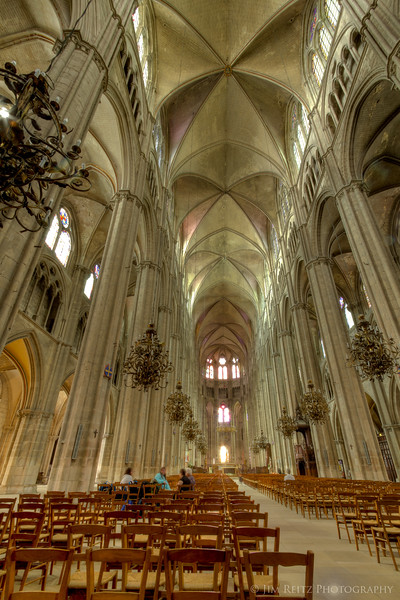 Interior of Bourges cathedral, with its extremely long sanctuary.