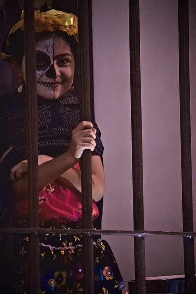 Girl dressed up for the Day of the Dead in Oaxaca, Mexico.