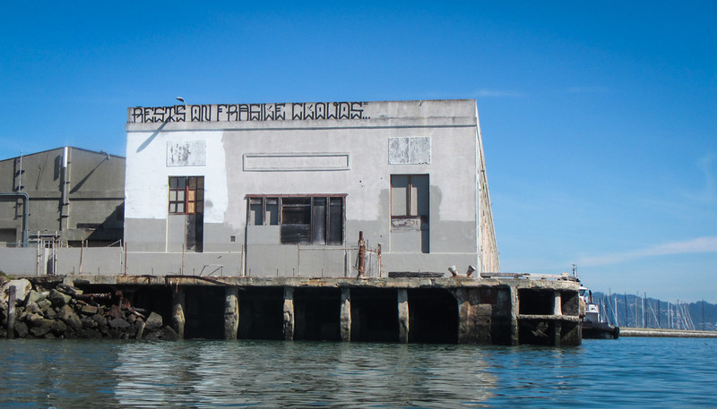 The old Point Richmond Wharf No. 1 building with some interesting graffiti.