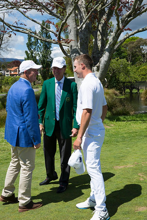 Luke Brown from New Zealand talking to the former Prime Minister of New Zealand, John Key (in blue) and  Masters Chairman Ridley (in green) on the 3rd day of competition  in the Asia-Pacific Amateur Championship tournament 2017 held at Royal Wellington Golf Club, in Heretaunga, Upper Hutt, New Zealand from 26 - 29 October 2017. Copyright John Mathews 2017.   www.megasportmedia.co.nz3rd day of competition  in the Asia-Pacific Amateur Championship tournament 2017 held at Royal Wellington Golf Club, in Heretaunga, Upper Hutt, New Zealand from 26 - 29 October 2017. Copyright John Mathews 2017.   www.megasportmedia.co.nz