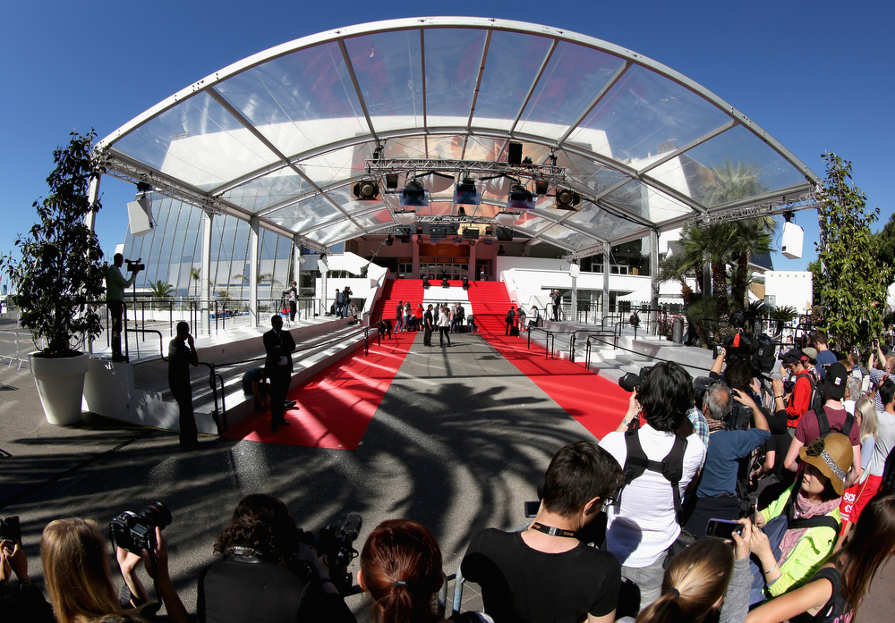 . (EDITORS NOTE: Image has been shot with a fisheye lens).  A general view of the red carpet at the Palais des Festivals ahead of the 67th Annual Cannes Film Festival on May 14, 2014 in Cannes, France.  (Photo by Tim P. Whitby/Getty Images)