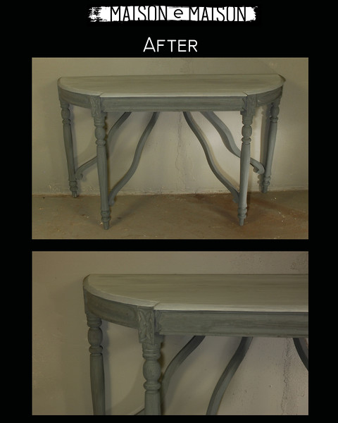 After; vintage consoles refinished in Milk Paint by Maison e Maison