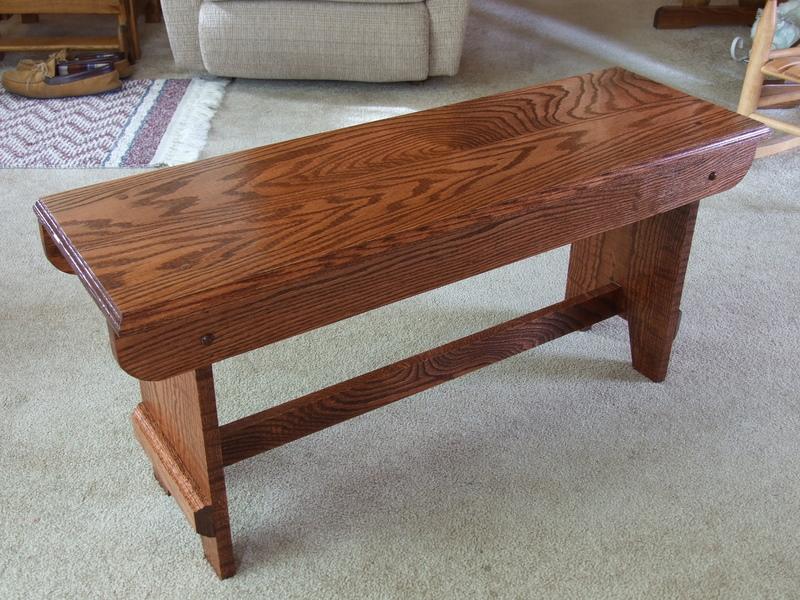 red oak bench