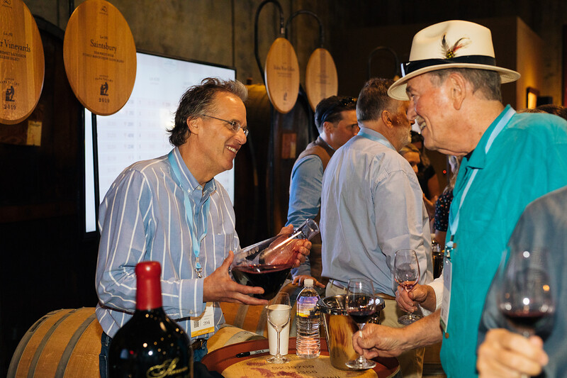 Doug Shafer pouring at the 2019 Napa Valley Barrel Auction