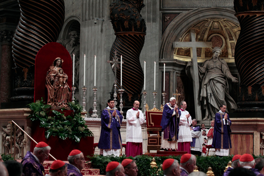 Description of . Pope Benedict XVI celebrates the Ash Wednesday mass in St. Peter's Basilica at the Vatican, Wednesday, Feb. 13, 2013.  Ash Wednesday marks the beginning of Lent, a solemn period of 40 days of prayer and self-denial leading up to Easter. Pope Benedict XVI told thousands of faithful Wednesday that he was resigning for