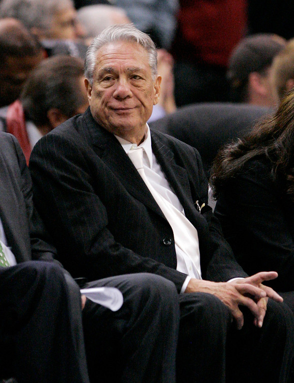 . Los Angeles Clippers owner Donald Sterling looks on during the second half of their NBA basketball game against the Orlando Magic, Wednesday, Jan. 9, 2008, in Los Angeles. The Magic won 113-106. (AP Photo/Mark J. Terrill)