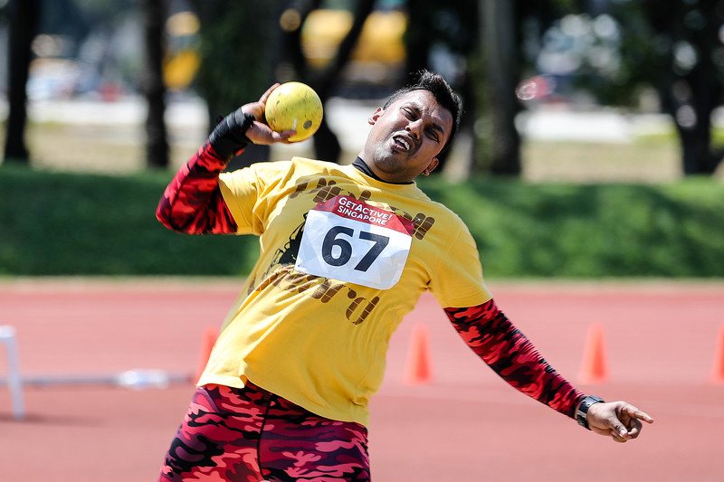 Men Shot Put Corporate Open -Players in action at Men Shot Put Corporate Open, GetActive Singapore at the home of Athletics, on 5th Aug 2017. Photo by Sanketa Anand/Sport Singapore